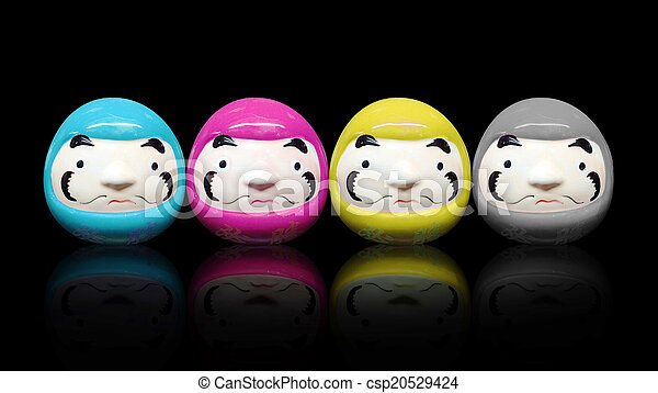 daruma doll in CMYK color concept in black isolate background - csp20529424