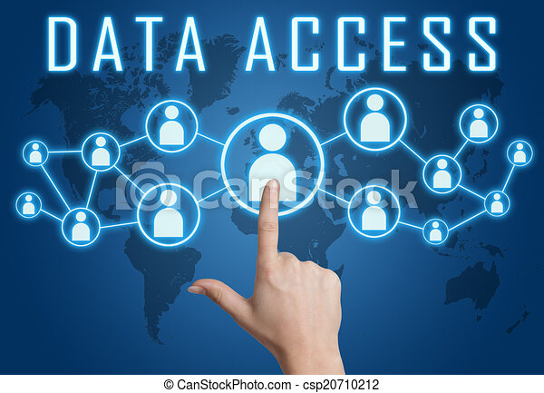 Data access concept with hand pressing social icons on ...