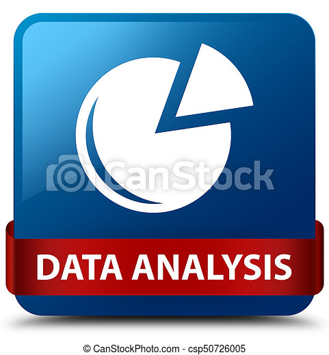 Data analysis (graph icon) blue square button red ribbon in middle - csp50726005