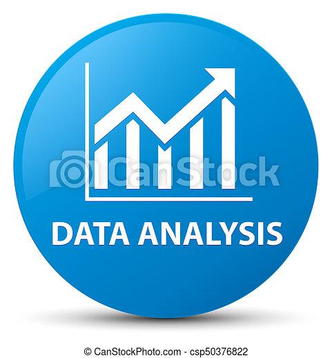 Data analysis (statistics icon) cyan blue round button - csp50376822