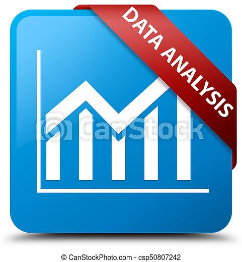 Data analysis (statistics icon) cyan blue square button red ribbon in corner - csp50807242