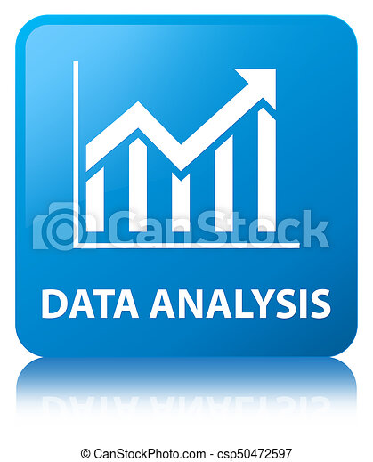 Data analysis (statistics icon) cyan blue square button - csp50472597