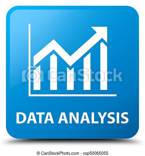 Data analysis (statistics icon) cyan blue square button - csp50065055