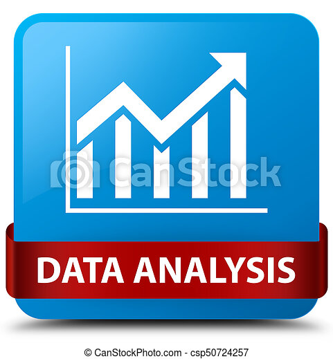 Data analysis (statistics icon) cyan blue square button red ribbon in middle - csp50724257