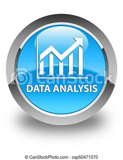 Data analysis (statistics icon) glossy cyan blue round button - csp50471070
