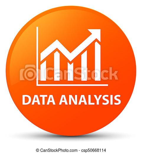 Data analysis (statistics icon) orange round button - csp50668114