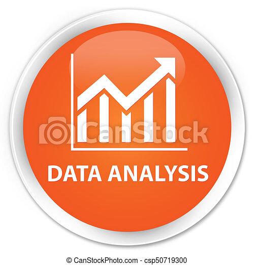 Data analysis (statistics icon) premium orange round button - csp50719300