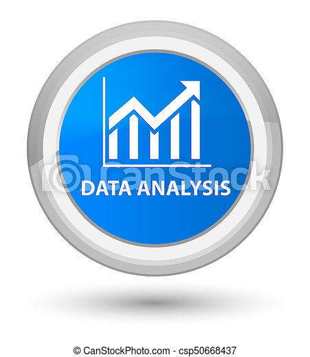 Data analysis (statistics icon) prime cyan blue round button - csp50668437