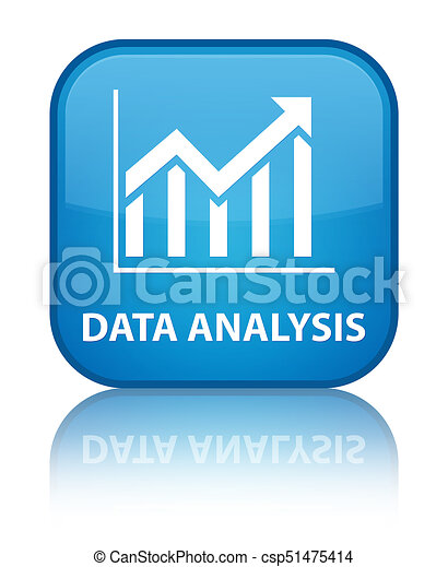 Data analysis (statistics icon) special cyan blue square button - csp51475414