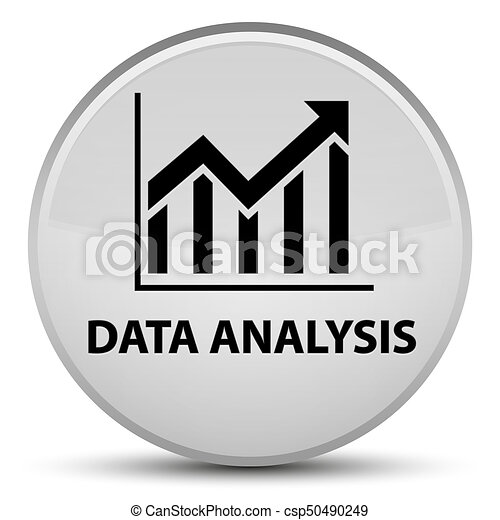 Data analysis (statistics icon) special white round button - csp50490249