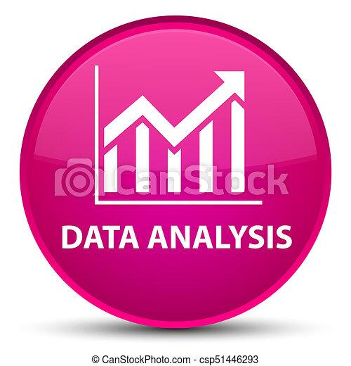 Data analysis (statistics icon) special pink round button - csp51446293