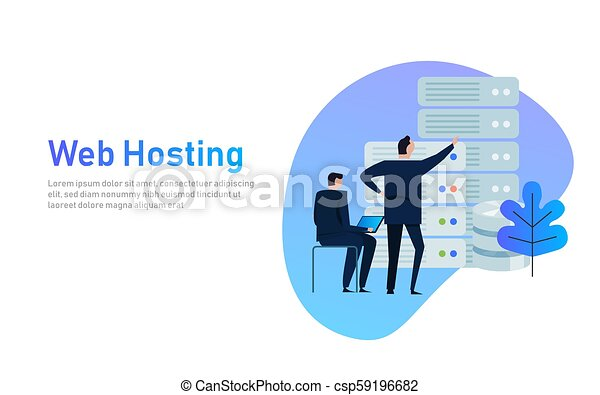 Data center design concept set with hosting servers icons isolated vector illustration. business man managing infrastructure of technology - csp59196682
