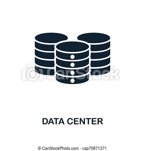Data Center icon. Monochrome style design from big data icon collection. UI. Pixel perfect simple pictogram data center icon. Web design, apps, software, print usage. - csp70871371