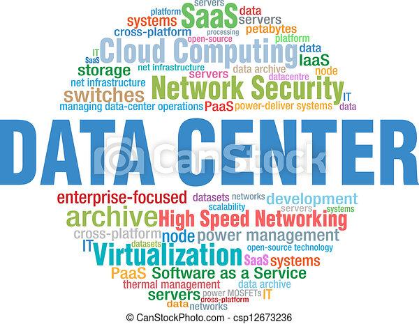 Data Center IT tech word cloud tags - csp12673236