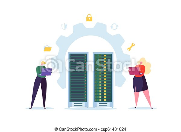 Data Center Technology Concept. Flat People Characters Engineers Working in Network Server Room. Web Hosting Administrator. Vector illustration - csp61401024