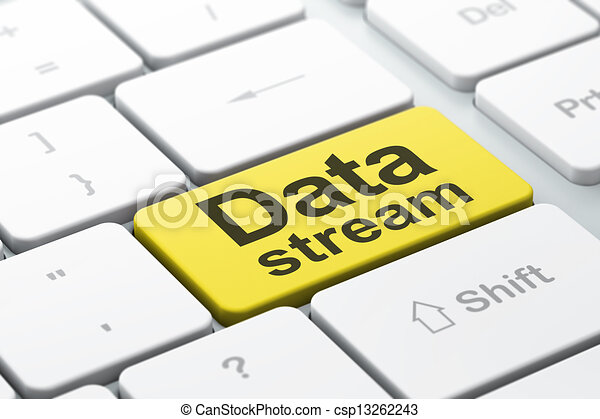 Data concept: Data Stream on computer keyboard background - csp13262243