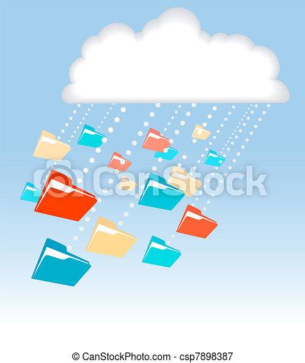 Data file folder rain cloud computing technology - csp7898387