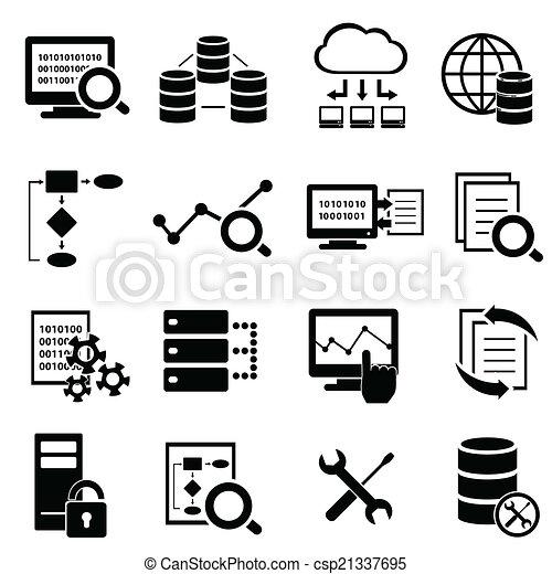 data, iconen, groot, gegevensverwerking, technologie, wolk - csp21337695