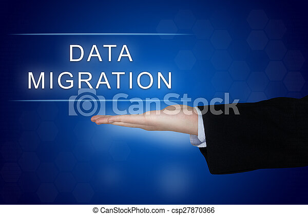 data migration button on blue background - csp27870366