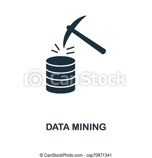 Data Mining icon. Monochrome style design from big data icon collection. UI. Pixel perfect simple pictogram data mining icon. Web design, apps, software, print usage. - csp70871341