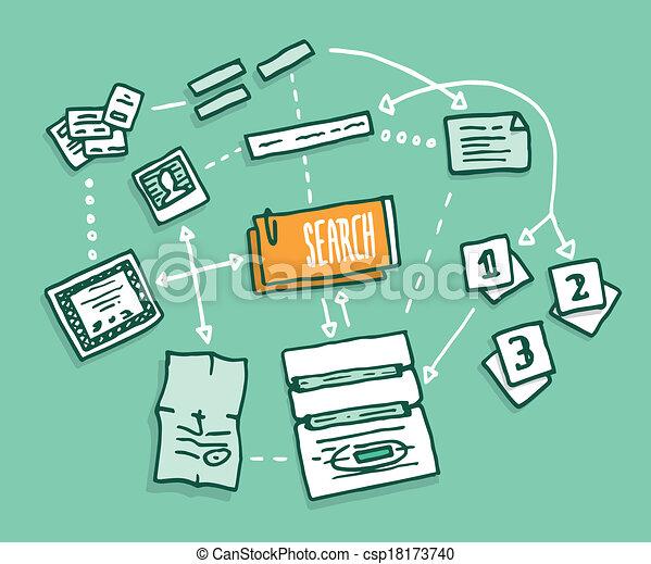 Data search algorithm gathering digital information - csp18173740