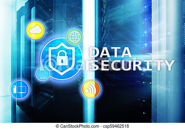 Data security, cyber crime prevention, Digital information protection. Lock icons and server room background. - csp59462518