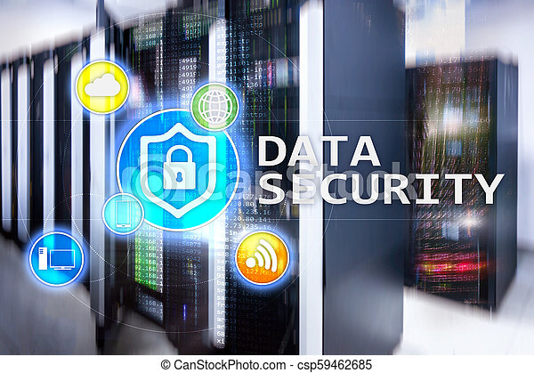 Data security, cyber crime prevention, Digital information protection. Lock icons and server room background. - csp59462685
