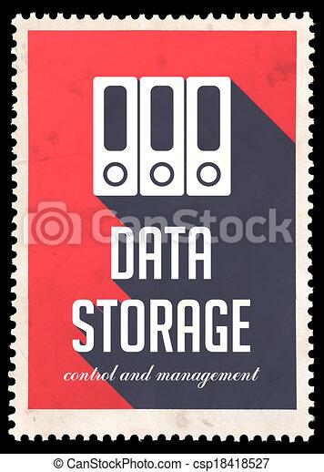 Data Storage on Red in Flat Design. - csp18418527