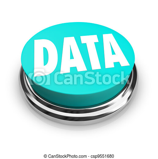 Data Word on Blue Round Button Information Measurement - csp9551680