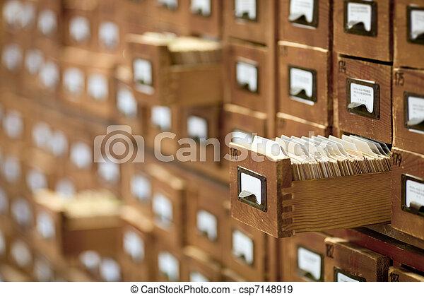 databank, ouderwetse , concept., de kaart van de bibliotheek, bestand, catalog., of, cabinet. - csp7148919