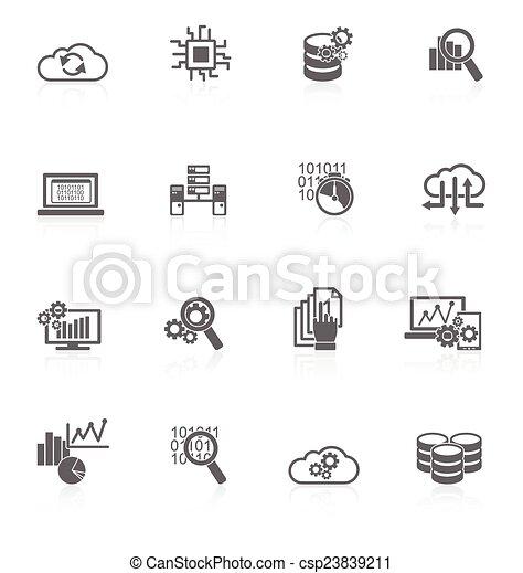 Database analytics icons black - csp23839211