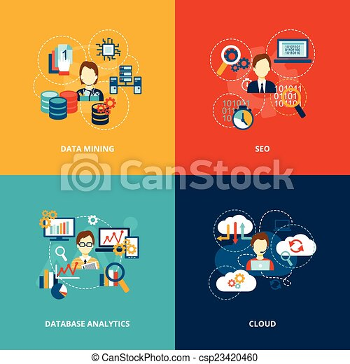 Database analytics icons flat - csp23420460