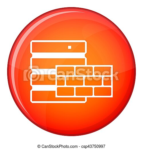 Database and brick wall icon, flat style - csp43750997