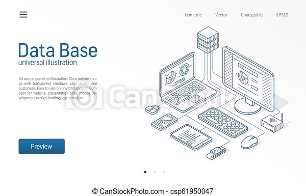 Database, big data, host server modern isometric line illustration. Datacenter, file protection center business sketch drawn icons. Information storage network concept. - csp61950047
