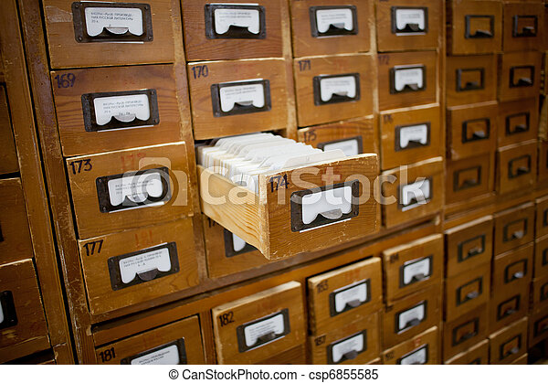 database concept. vintage cabinet. library card or file catalog. - csp6855585