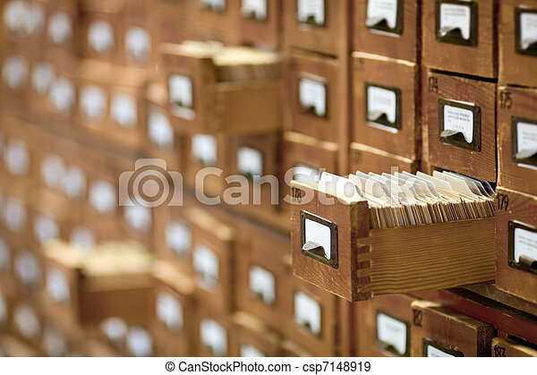database concept. vintage cabinet. library card or file catalog. - csp7148919
