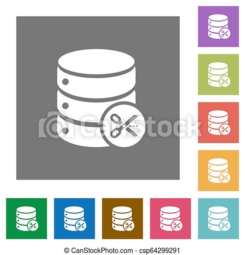 Database cut square flat icons - csp64299291