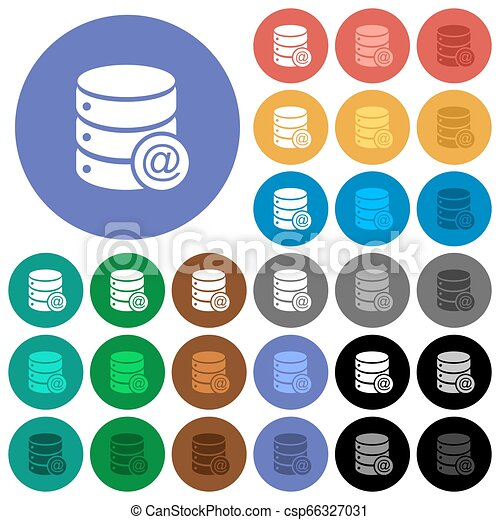 Database email round flat multi colored icons - csp66327031