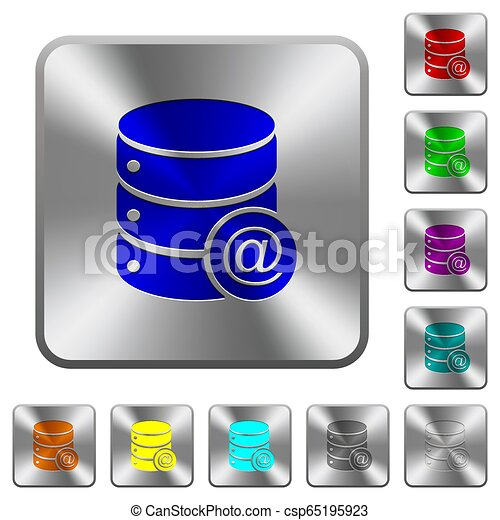 Database email rounded square steel buttons - csp65195923