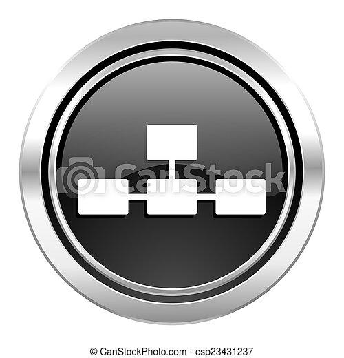database icon, black chrome button - csp23431237