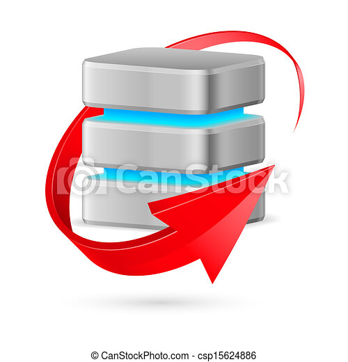 Database icon with update symbol. - csp15624886