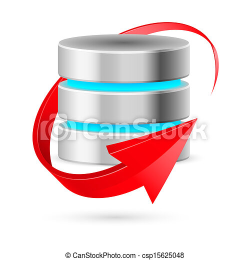 Database icon with update symbol. - csp15625048