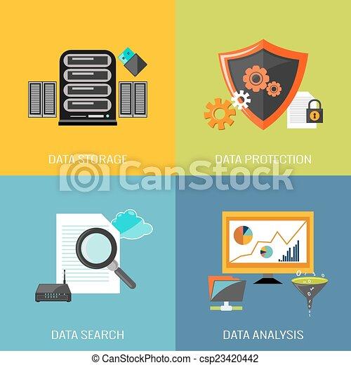 Database icons flat - csp23420442