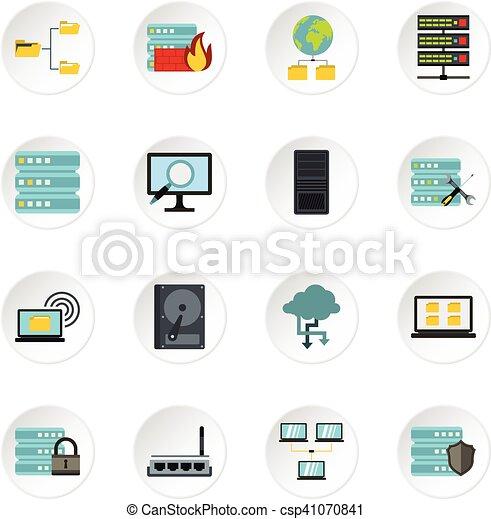 Database icons set, flat style - csp41070841