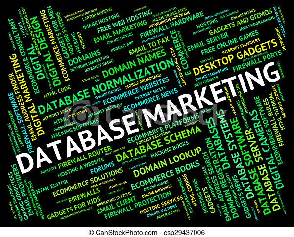 Database Marketing Indicates Databases Text And Promotion