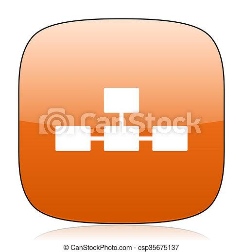 database orange square web design glossy icon - csp35675137