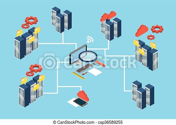 Database server search data 3d isometric design vector clipart database server search data 3d isometric design csp36589255 ccuart Images