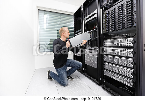 datacenter, להב, זה, החלף, טכנאי, שרת - csp19124729