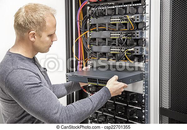 datacenter, hálózat, konzulens, azt, épít, keret - csp22701355