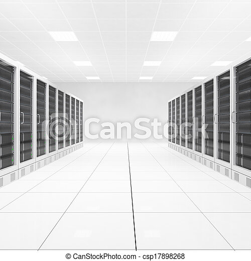 Datacenter with two rows of computers central view - csp17898268